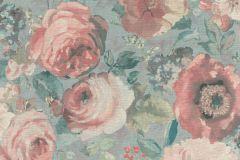 527858 cikkszámú tapéta.Különleges felületű,különleges motívumos,természeti mintás,textil hatású,virágmintás,kék,pink-rózsaszín,szürke,zöld,lemosható,vlies tapéta