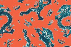 527957 cikkszámú tapéta.állatok,különleges felületű,különleges motívumos,textil hatású,fehér,kék,narancs-terrakotta,lemosható,vlies tapéta