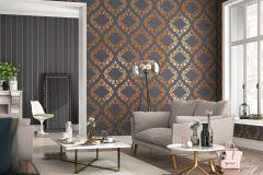 609516 cikkszámú tapéta.Barokk-klasszikus,metál-fényes,barna,bronz,lemosható,vlies tapéta