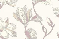 610246 cikkszámú tapéta.Virágmintás,bézs-drapp,fehér,lila,lemosható,vlies tapéta