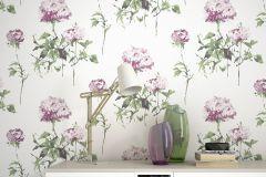 801507 cikkszámú tapéta.Rajzolt,természeti mintás,virágmintás,fehér,piros-bordó,zöld,lemosható,vlies tapéta