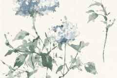 801521 cikkszámú tapéta.Rajzolt,természeti mintás,virágmintás,fehér,kék,zöld,lemosható,vlies tapéta