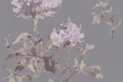 801538 cikkszámú tapéta.Rajzolt,természeti mintás,virágmintás,barna,lila,szürke,zöld,lemosható,vlies tapéta