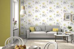 801545 cikkszámú tapéta.Rajzolt,természeti mintás,virágmintás,fehér,sárga,szürke,lemosható,vlies tapéta