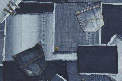 38-JEANS cikkszámú tapéta.Különleges motívumos,kék,szürke,lemosható,papír tapéta