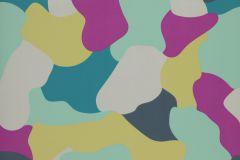 37-FIESTA cikkszámú tapéta.Absztrakt,fehér,pink-rózsaszín,sárga,türkiz,zöld,gyengén mosható,papír tapéta