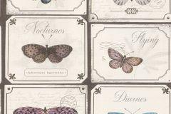 306507 cikkszámú tapéta.állatok,feliratos-számos,retro,barna,bézs-drapp,kék,pink-rózsaszín,szürke,lemosható,papír tapéta
