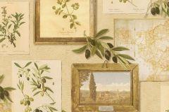 307214 cikkszámú tapéta.Feliratos-számos,konyha-fürdőszobai,természeti mintás,vajszín,zöld,lemosható,papír tapéta