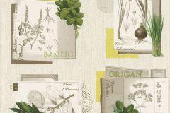 307405 cikkszámú tapéta.Feliratos-számos,konyha-fürdőszobai,retro,természeti mintás,virágmintás,sárga,szürke,zöld,lemosható,illesztés mentes,papír tapéta