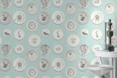 512021 cikkszámú tapéta.állatok,konyha-fürdőszobai,retro,fehér,szürke,türkiz,lemosható,illesztés mentes,vlies tapéta