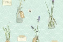 518306 cikkszámú tapéta.Feliratos-számos,geometriai mintás,konyha-fürdőszobai,retro,természeti mintás,virágmintás,barna,fehér,lila,türkiz,zöld,lemosható,vlies tapéta