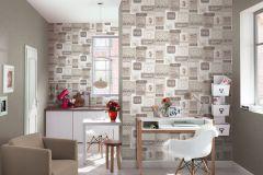 518412 cikkszámú tapéta.Feliratos-számos,konyha-fürdőszobai,retro,barna,bézs-drapp,fehér,lemosható,vlies tapéta
