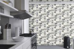 518429 cikkszámú tapéta.Feliratos-számos,konyha-fürdőszobai,retro,fehér,fekete,szürke,lemosható,vlies tapéta