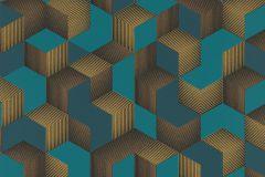 403909 cikkszámú tapéta.3d hatású,különleges felületű,arany,türkiz,lemosható,vlies tapéta