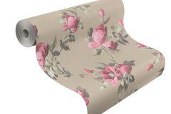 502138 cikkszámú tapéta.Metál-fényes,virágmintás,barna,pink-rózsaszín,szürke,lemosható,vlies tapéta