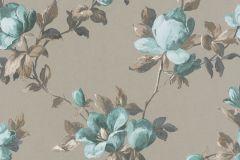 502152 cikkszámú tapéta.Metál-fényes,virágmintás,kék,szürke,türkiz,zöld,lemosható,vlies tapéta