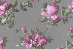502169 cikkszámú tapéta.Metál-fényes,virágmintás,pink-rózsaszín,szürke,zöld,lemosható,vlies tapéta