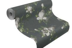 502176 cikkszámú tapéta.Metál-fényes,virágmintás,fekete,szürke,zöld,lemosható,vlies tapéta