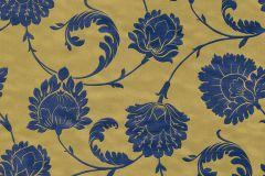 546323 cikkszámú tapéta.Barokk-klasszikus,természeti mintás,virágmintás,arany,barna,kék,lemosható,vlies tapéta