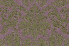 515817 cikkszámú tapéta.Barokk-klasszikus,különleges felületű,különleges motívumos,textil hatású,textilmintás,virágmintás,lila,zöld,lemosható,Vlies tapéta