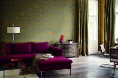 515831 cikkszámú tapéta.Barokk-klasszikus,különleges felületű,különleges motívumos,rajzolt,textil hatású,textilmintás,virágmintás,arany,zöld,lemosható,Vlies tapéta