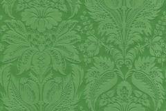 517637 cikkszámú tapéta.Metál-fényes,textil hatású,virágmintás,barokk-klasszikus,különleges felületű,különleges motívumos,zöld,lemosható,Vlies tapéta