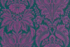 517644 cikkszámú tapéta.Barokk-klasszikus,különleges felületű,különleges motívumos,textil hatású,virágmintás,lila,zöld,lemosható,Vlies tapéta