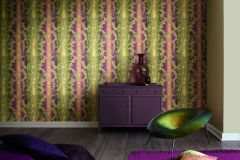 517828 cikkszámú tapéta.Barokk-klasszikus,különleges felületű,különleges motívumos,metál-fényes,textil hatású,textilmintás,virágmintás,arany,lila,pink-rózsaszín,sárga,zöld,lemosható,Vlies tapéta