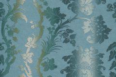 517835 cikkszámú tapéta.Barokk-klasszikus,különleges felületű,különleges motívumos,textil hatású,textilmintás,virágmintás,ezüst,kék,szürke,zöld,lemosható,Vlies tapéta