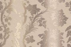 517842 cikkszámú tapéta.Barokk-klasszikus,csíkos,különleges felületű,különleges motívumos,textil hatású,textilmintás,virágmintás,barna,bézs-drapp,vajszín,lemosható,Vlies tapéta