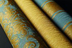 515930 cikkszámú tapéta.Csíkos,különleges felületű,különleges motívumos,természeti mintás,textil hatású,textilmintás,arany,zöld,lemosható,illesztés mentes,Vlies tapéta