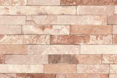 475166 cikkszámú tapéta.Kőhatású-kőmintás,barna,narancs-terrakotta,lemosható,vlies tapéta