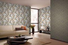 935738 cikkszámú tapéta.Barokk-klasszikus,különleges felületű,rajzolt,természeti mintás,virágmintás,bézs-drapp,lila,narancs-terrakotta,szürke,zebra,lemosható,vlies tapéta