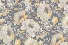 935745 cikkszámú tapéta.Barokk-klasszikus,különleges felületű,rajzolt,természeti mintás,virágmintás,bézs-drapp,kék,narancs-terrakotta,zebra,lemosható,vlies tapéta