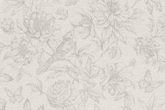 449433 cikkszámú tapéta.állatok,rajzolt,természeti mintás,textil hatású,virágmintás,bézs-drapp,szürke,lemosható,vlies tapéta