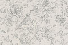 449440 cikkszámú tapéta.állatok,rajzolt,természeti mintás,textil hatású,virágmintás,bézs-drapp,szürke,lemosható,vlies tapéta