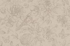 449457 cikkszámú tapéta.állatok,rajzolt,természeti mintás,textil hatású,virágmintás,bézs-drapp,szürke,lemosható,vlies tapéta