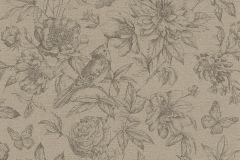 449464 cikkszámú tapéta.állatok,rajzolt,természeti mintás,textil hatású,virágmintás,barna,bézs-drapp,lemosható,vlies tapéta