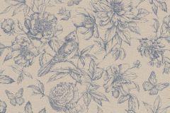 449471 cikkszámú tapéta.állatok,rajzolt,természeti mintás,virágmintás,barna,bézs-drapp,kék,lemosható,vlies tapéta