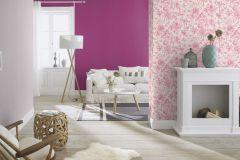 449488 cikkszámú tapéta.állatok,rajzolt,természeti mintás,textil hatású,virágmintás,fehér,pink-rózsaszín,lemosható,vlies tapéta