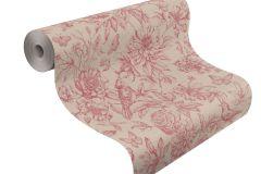 449495 cikkszámú tapéta.állatok,rajzolt,természeti mintás,textil hatású,virágmintás,piros-bordó,barna,lemosható,vlies tapéta