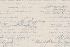 449587 cikkszámú tapéta.Feliratos-számos,retro,textil hatású,bézs-drapp,kék,lemosható,vlies tapéta