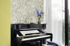 455335 cikkszámú tapéta.Barokk-klasszikus,textil hatású,sárga,szürke,zöld,lemosható,vlies tapéta