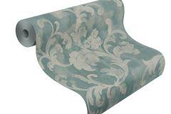 455359 cikkszámú tapéta.Barokk-klasszikus,textil hatású,szürke,türkiz,lemosható,vlies tapéta