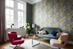 455649 cikkszámú tapéta.Textil hatású,virágmintás,fehér,fekete,sárga,türkiz,lemosható,vlies tapéta