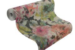 455663 cikkszámú tapéta.Textil hatású,virágmintás,fehér,narancs-terrakotta,pink-rózsaszín,sárga,szürke,zöld,lemosható,vlies tapéta