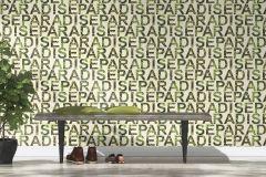 440904 cikkszámú tapéta.Feliratos-számos,vajszínű,zöld,lemosható,vlies tapéta