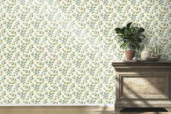 442212 cikkszámú tapéta.Természeti mintás,virágmintás,fehér,kék,zöld,lemosható,vlies tapéta