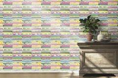 442403 cikkszámú tapéta.Dekor,gyerek,retro,kék,narancs-terrakotta,pink-rózsaszín,piros-bordó,sárga,szürke,zöld,lemosható,illesztés mentes,vlies tapéta