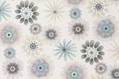 701425 cikkszámú tapéta.Gyerek,különleges felületű,pöttyös,rajzolt,retro,virágmintás,fehér,kék,pink-rózsaszín,szürke,lemosható,vlies tapéta